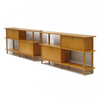 Set of two mid century stick cabinets from Wilhelm Lutjens for C. Den Boer Gouda
