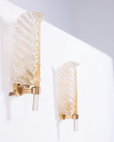 Barovier & Toso Wall Sconces in Murano Glass, 1950s