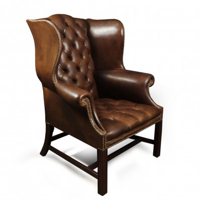 Georgian Style Brown Buttoned Leather Wing Chair