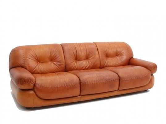 Italian vintage leather sofa by Mobil Girgi, 1970s