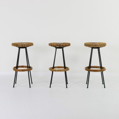 Set of 3 Rohé Noordwolde bar stools, 1950s