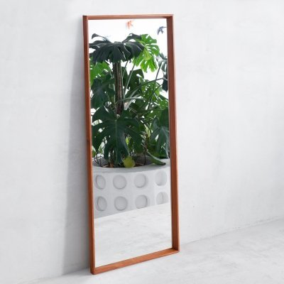 Large teak framed mirror from TW Spejlet, Denmark 1960s