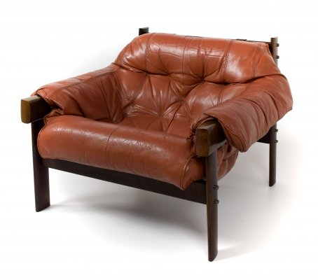 Percival Lafer Lounge Chair MP 41 in Leather & Hard Wood, Brazil 1960s