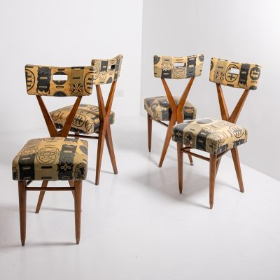Set of 4 Wooden Chairs with Original Fabric by Gianni Vigorelli, 1950s
