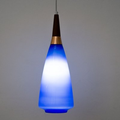 French Blue opaline & teak pendant lamp, 1960s