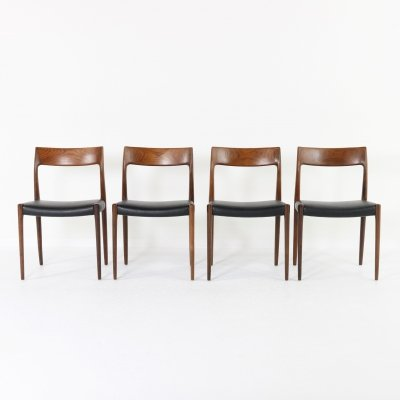 Set of 4 Niels O. Møller 'No 77' Rosewood dining chairs, 1960s