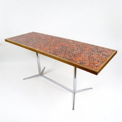 Dutch dining table (desk or side table) with ceramic top, 1970s