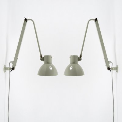 Set of 2 industrial wall mounted lights, 1960s