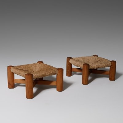 Pine & Rush footstools by Wim den Boon, 1950