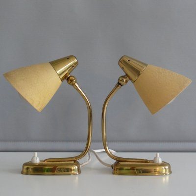 Pair of little desk lamps with shrink varnish, 1950s