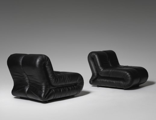 Leather 'Pagrù' lounge chairs by 1P, Italy 1968