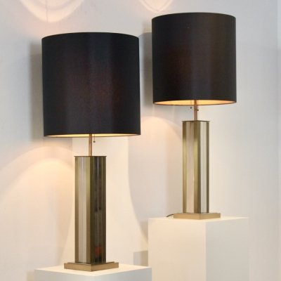 Pair of Brass & Chrome Willy Rizzo Table Lamps, 1970s