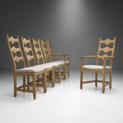 Set of Six Scandinavian Oak Dining Chairs, Scandinavia ca 1950s