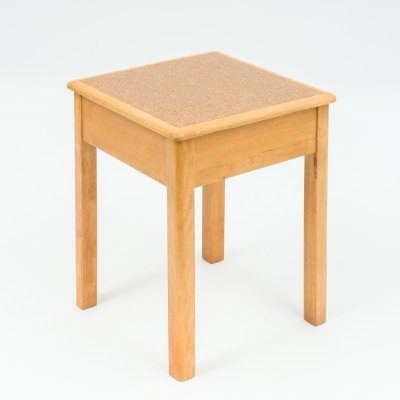 1940s small beechwood stool with storage compartment