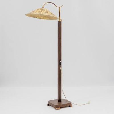 Vintage 1940s floor lamp with brass arm