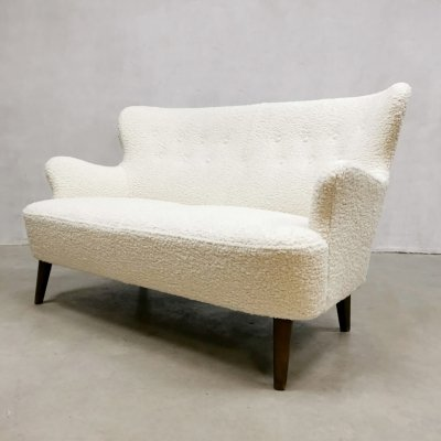 Midcentury Dutch design Bouclé fabric sofa by Theo Ruth for Artifort