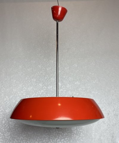 Vintage red hanging lamp model no.1117 by Napako