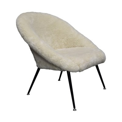1970's club chair in real sheep wool