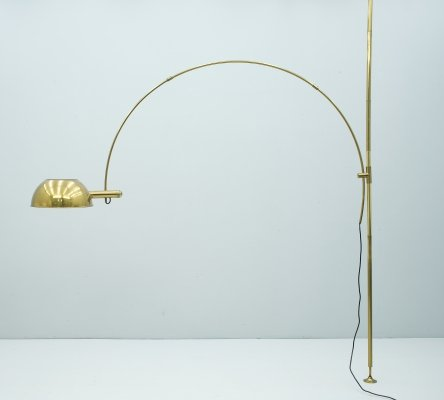 Florian Schulz Adjustable Arc Brass Floor Lamp, 1970s