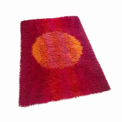 Abstract Scandinavian High Pile Rya Rug Carpet, Sweden 1970s