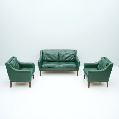 Teak & Green Leather Living Room set, Italy 1958