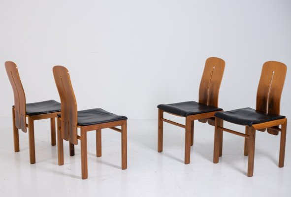 Set of four chairs by Carlo Scarpa in black leather & wood, 1960s