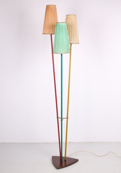 1960s Tripod floor lamp with fabric shades
