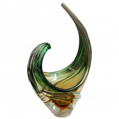 Mid-Century Modern Green & Brown Murano Glass Centerpiece by Seguso, 1970s