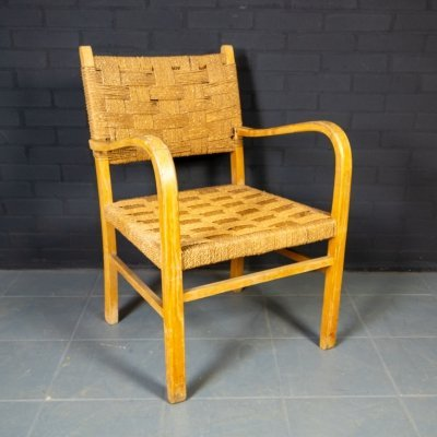 Mid-Century Wood & Rope Lounge Chair, 1950s