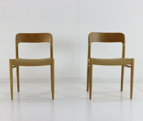 Pair of Model 75 dining chairs by Niels Otto Møller for JL Møllers Møbelfabrik, 1960s