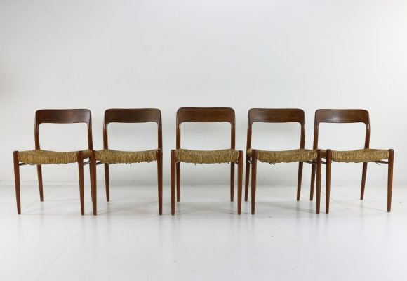 Set of 5 Model 75 dining chairs by Niels Otto Møller for JL Møllers Møbelfabrik, 1950s