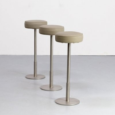 Set of 3 cast stainless steel & leather stools, 1970s