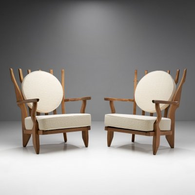 'Grand Repos' Armchairs by Guillerme et Chambron for Votre Maison, France 1950s