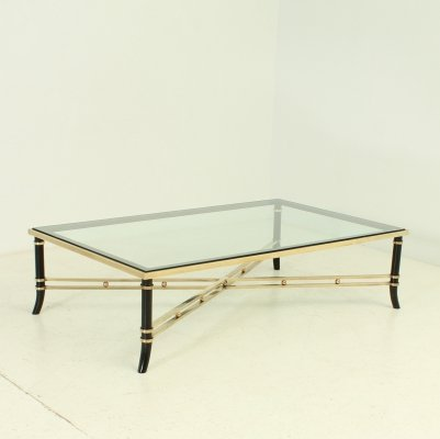 Large French Coffee Table in Brass & Clear Glass, 1960's