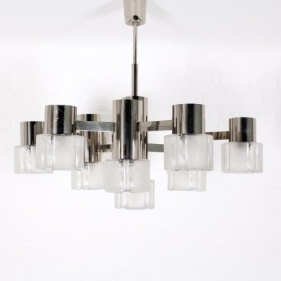 Chromed steel & frosted glass 9 lights chandelier by Sciolari & Mazzega, 1970's