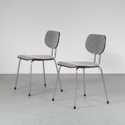 1950s Pair of 'CT2' dining chairs by Willy van der Meeren for Tubax, Belgium