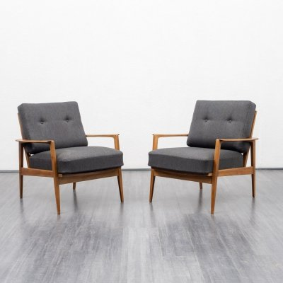 2 x Rare Knoll Antimott armchair in walnut, 1950s