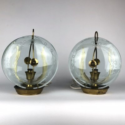 Pair of Fontana Arte brass & curved glass table lamps, 40s