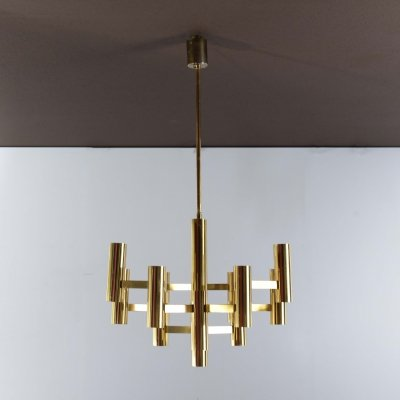 Sciolari brass plated chandelier with 13 light sources produced by Boulanger