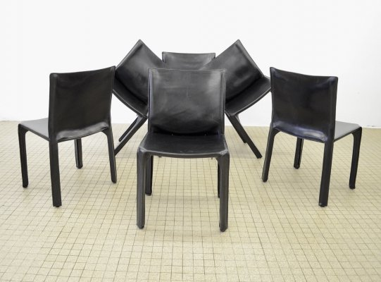 Set of 6 Cassina Cab 412 black leather dining chairs by Mario Bellini, 1977