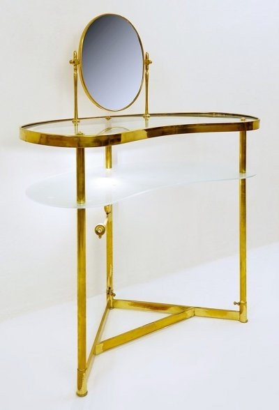 Luigi Brusotti Dressing Table In Brass, Glass And Mirror, Italy 1940s