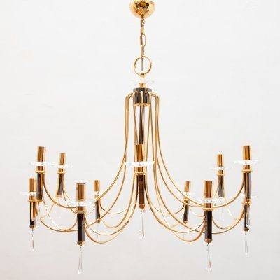 Large Brass Chandelier by Prearo Luce, Italy 1980s