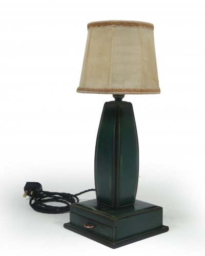 Stitched Leather Table Lamp by Jacques Adnet, France 1950