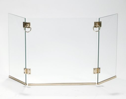 Rare Brass Fireplace Screen by Jacques Adnet, 1940s