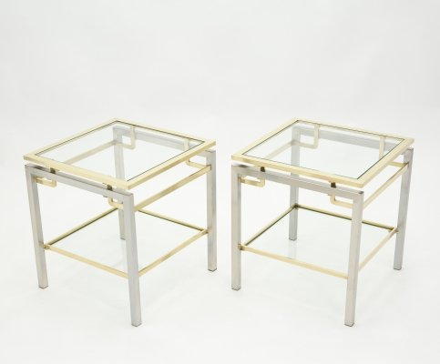 French Brass steel two-tier end tables by Guy Lefevre for Maison Jansen, 1970s