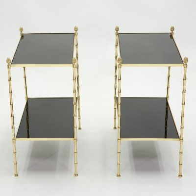 Pair of French Maison Baguès bamboo brass & black top two-tier end tables, 1960s