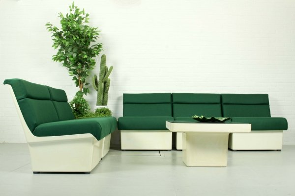 Very rare Gispen M8/G5 Series seating group in white polyester, 1972