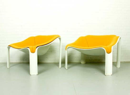 Pair of Mid Century F300 lounge chairs by Pierre Paulin for Artifort, 1970s