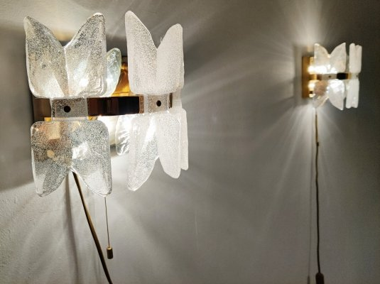 Pair of brass & frosted glass wall lights by Kalmar, 1960s