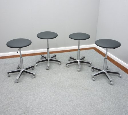 Set of 4 Aluminum & Leather Bar Stools from Olymp, 1970s
